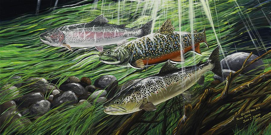 Trout Painting - River Gems by Juan Jose Serra