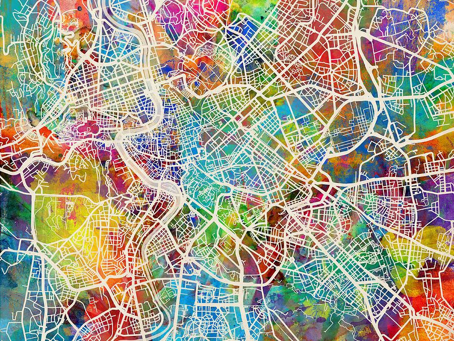 Rome Italy Street Map Digital Art By Michael Tompsett