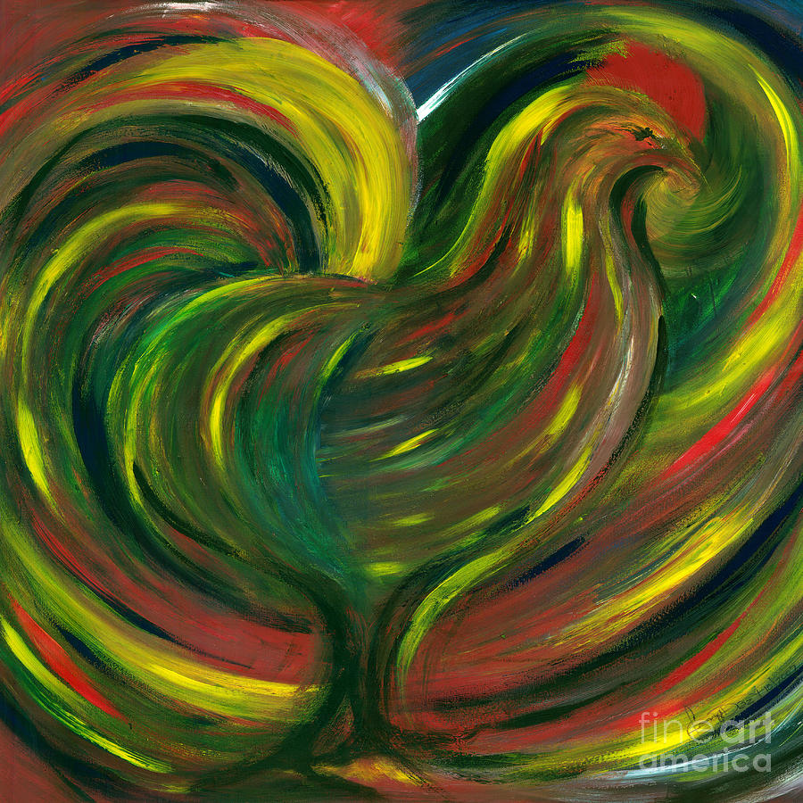 Nature Painting - Rooster by Fanny Diaz