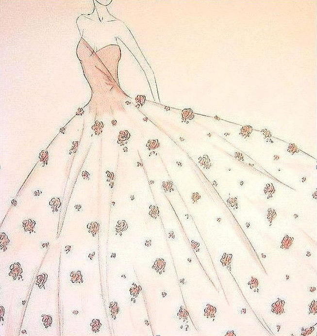 Fashion Illustration Drawing - Rose Ball Gown   by Christine Corretti
