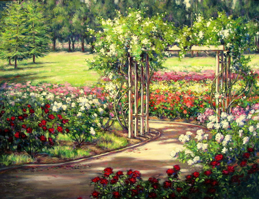 Rose garden arbor painting by vickie fears for Garden painting images