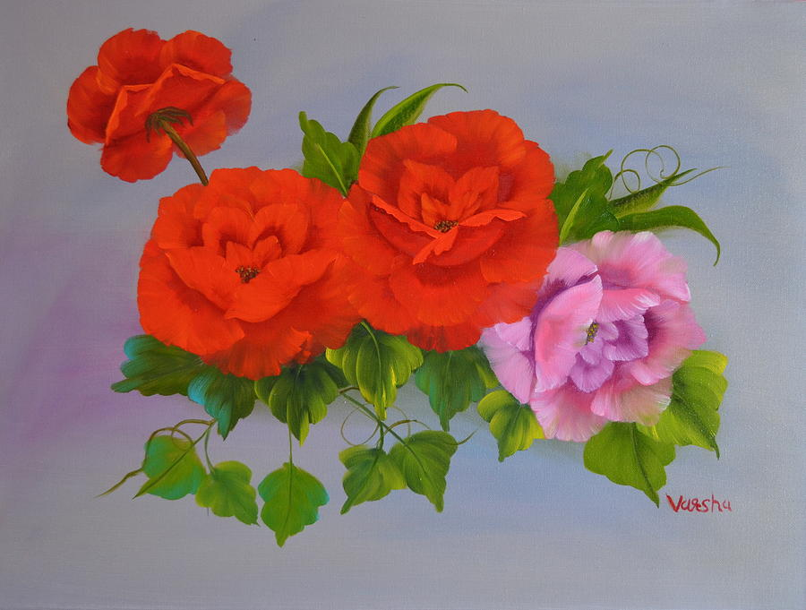 Roses Painting - Roses On Canvas by Varsha Patel