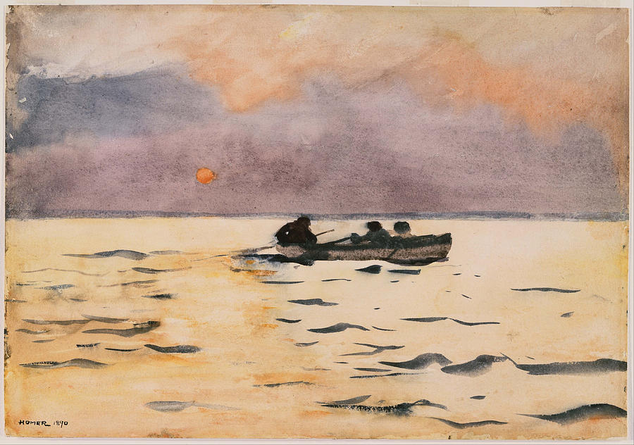 Winslow Homer Painting - Rowing Home by Winslow Homer