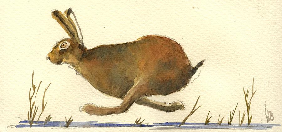 Running Painting - Running Hare by Juan  Bosco