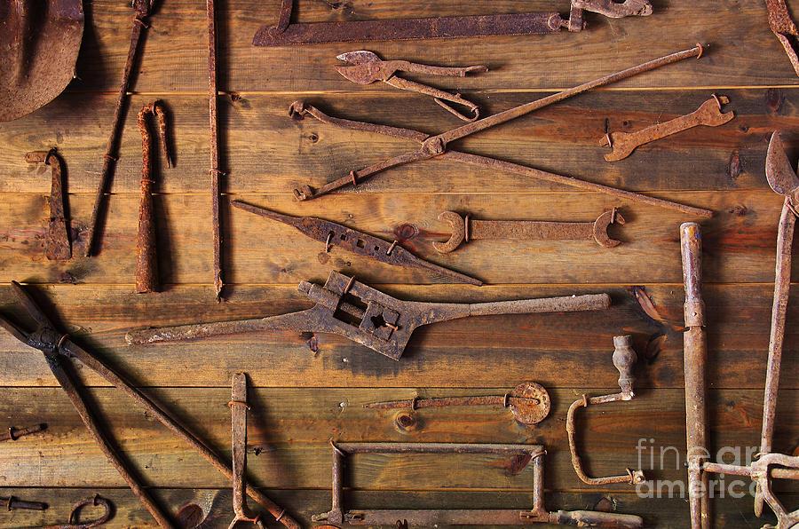 Antique Photograph - Rusty Tools by Carlos Caetano
