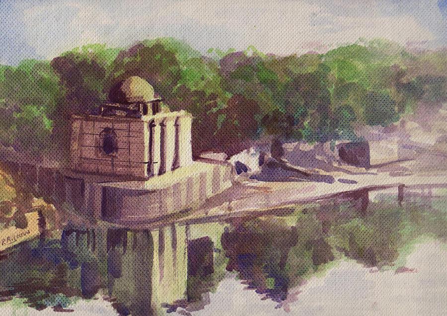 Landscape Painting - Sabarmati River by Prakash Leuva