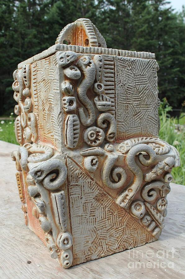 Stoneware Ceramic Art - Saggar Jar by Donald Burroughs