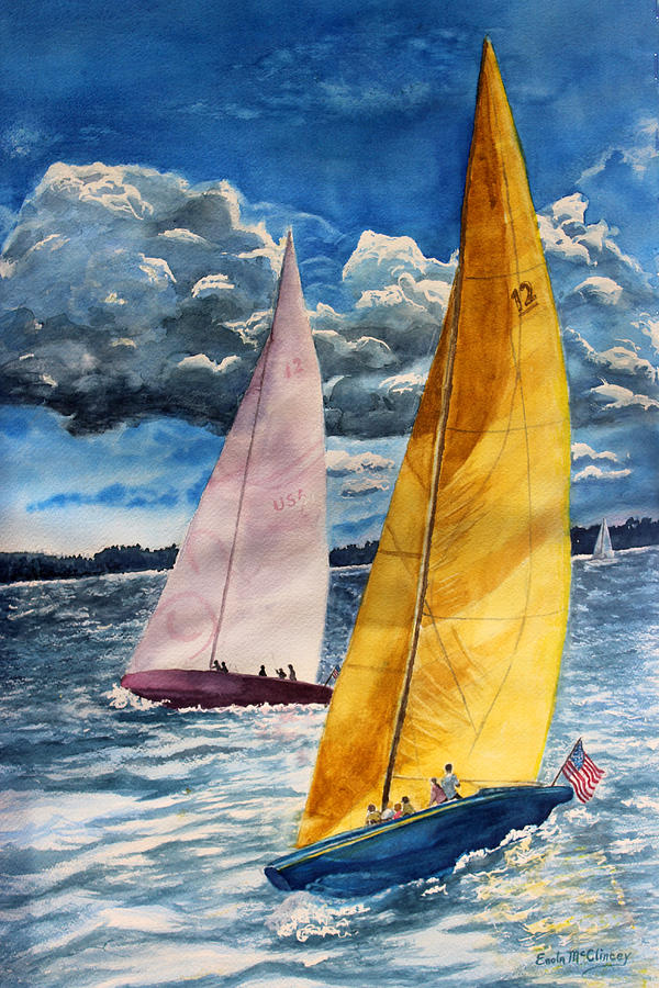 Sailboat Race Painting - Sailors Delight  by Enola McClincey