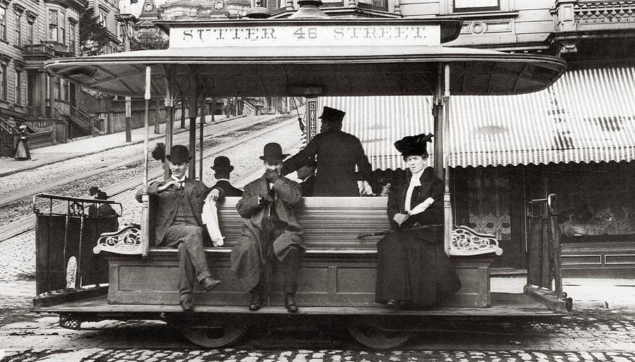 19th Century Photograph - San Francisco Streetcar by Granger