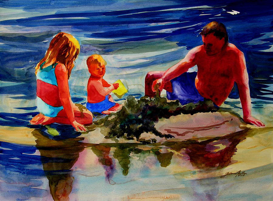Beach Painting - Sandcastles With Daddy by Julianne Felton