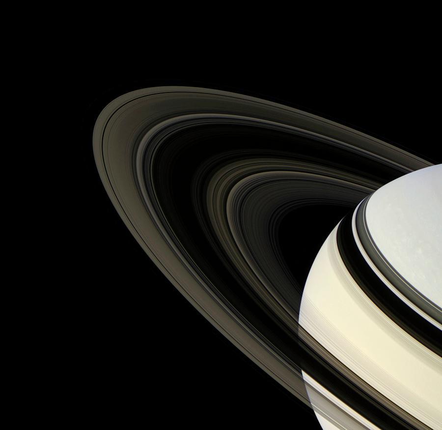 Pandora Photograph - Saturns Rings by Nasa/jpl/ssi/science Photo Library