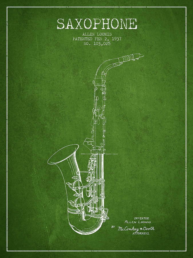 Saxophone Patent Drawing From 1937 - Green Digital Art