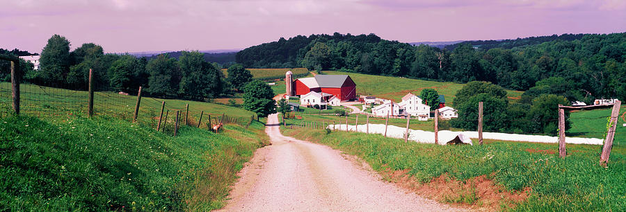 Color Image Photograph - Scenic View Of A Farm, Amish Country by Panoramic Images