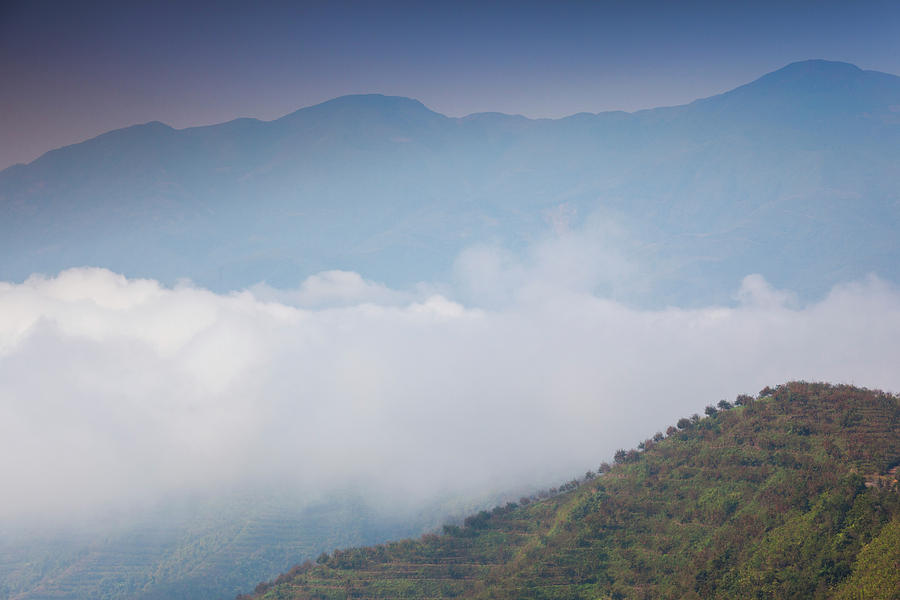 Horizontal Photograph - Scenic View Of Fog Over Mountains by Panoramic Images
