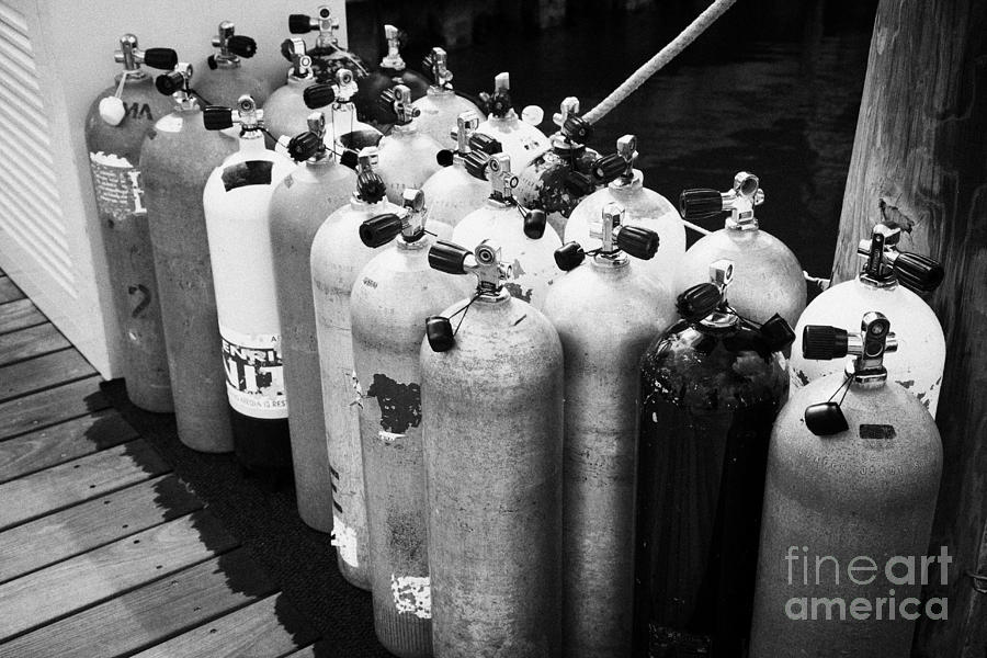Scuba Photograph - Scuba Air Tanks Lined Up On Jetty To Be Filled In Harbour Key West Florida Usa by Joe Fox
