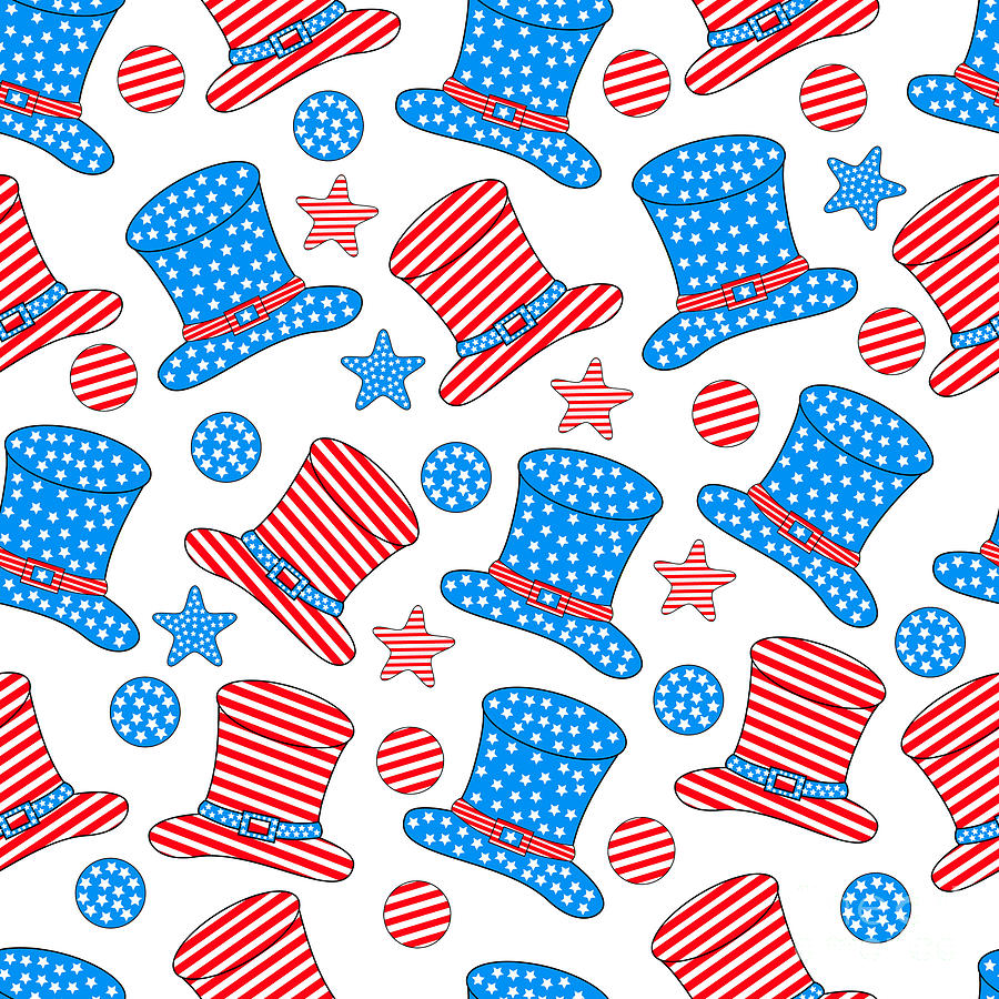 Typography Digital Art - Seamless Pattern For 4th Of July by Allies Interactive