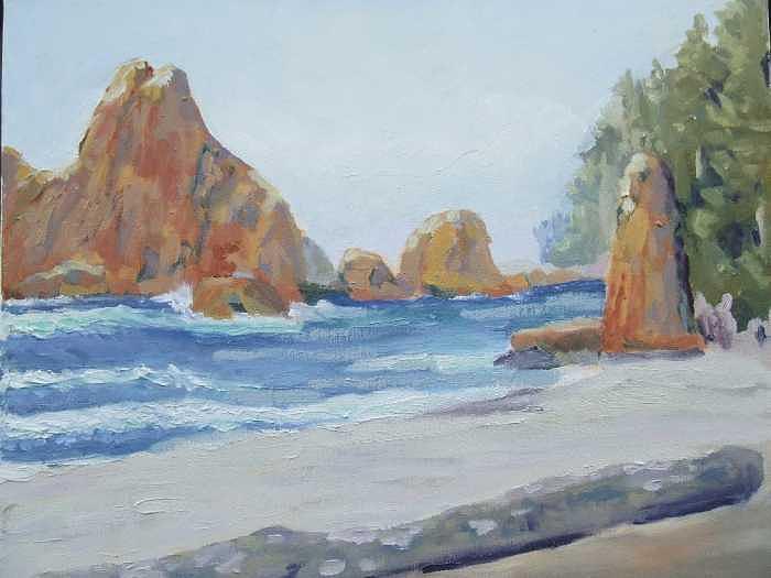 Sentinels At Ruby Beach Wa Painting by Raymond Kaler