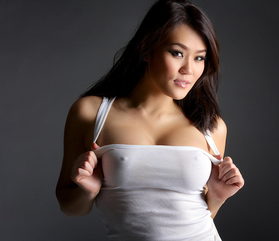 Sexy Young Asian Woman In White Tank Top 2 Photograph by 2HotBrazil