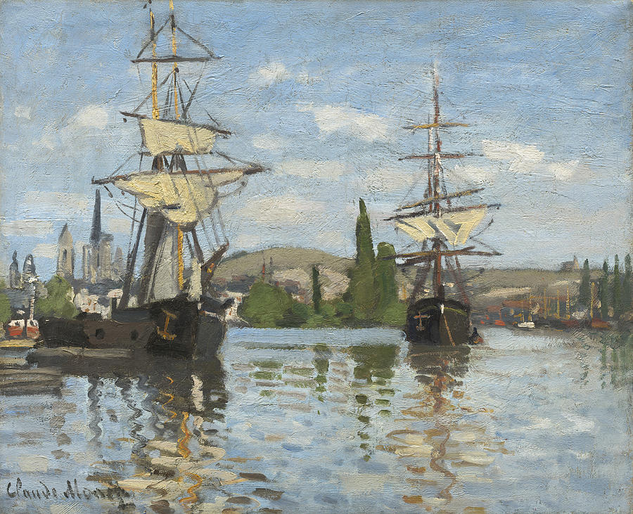 Monet Painting - Ships Riding On The Seine At Rouen by Claude Monet