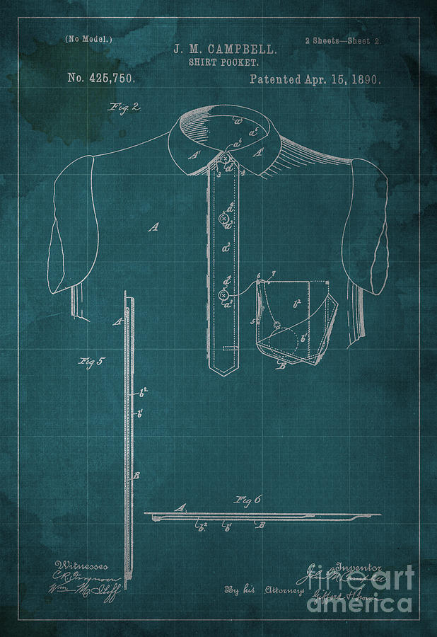 Patent Digital Art - Shirt Pocket Blueprint Patent by Pablo Franchi