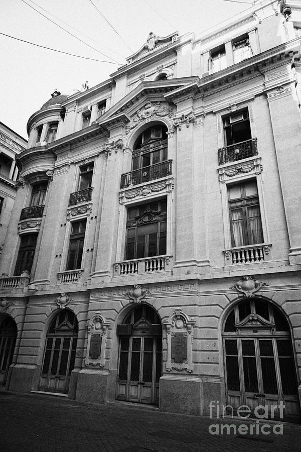 Santiago Photograph - side of Santiago Stock Exchange building Chile by Joe Fox
