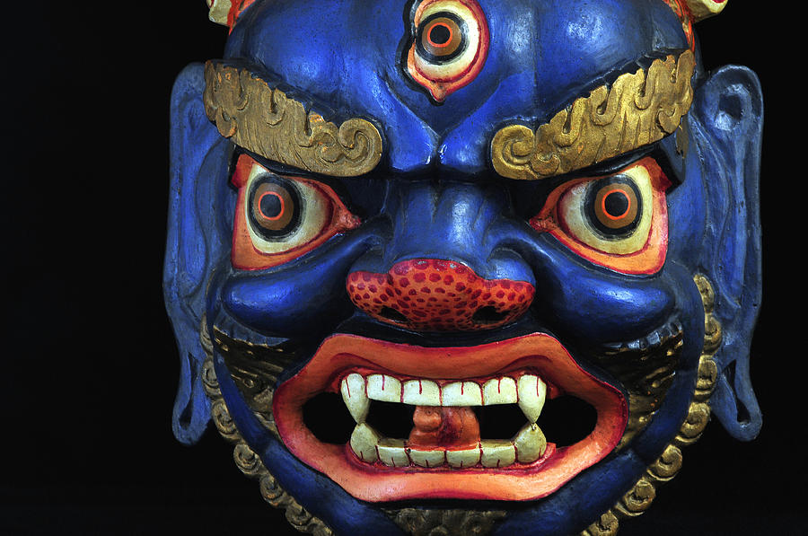 Colorful Photograph - Sikkim Dance Mask, India by Theodore Clutter
