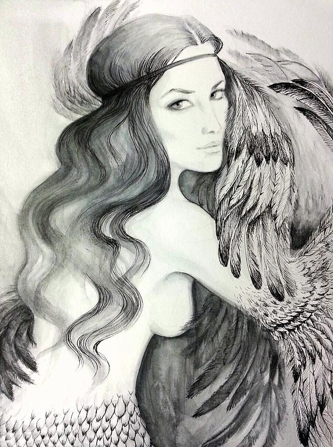 Fantasy Drawing - Siren by Roksolana Tchotchieva