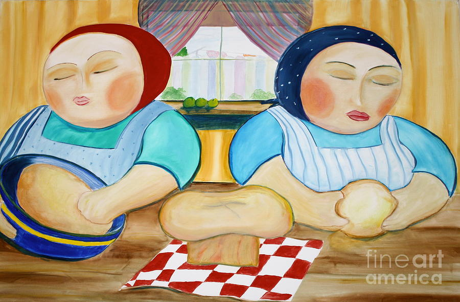 Color Painting - Sisters Baking by Teresa Hutto