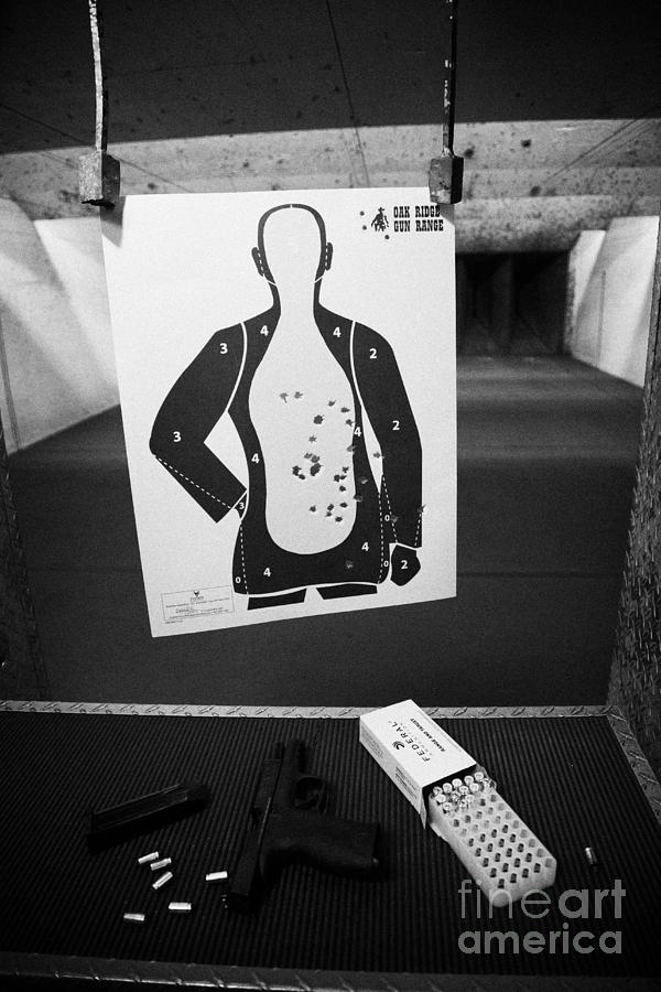 Shooting Photograph - Smith And Wesson 9mm Handgun With Ammunition At A Gun Range In Florida Usa by Joe Fox