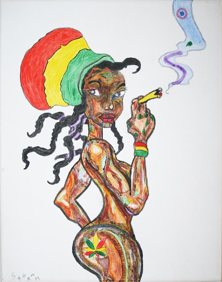 smoking rasta girl painting by stormm bradshaw