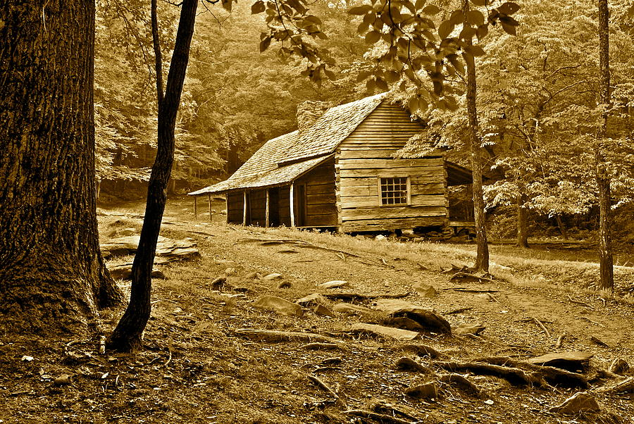 Smoky Photograph - Smoky Mountain Cabin by Frozen in Time Fine Art Photography