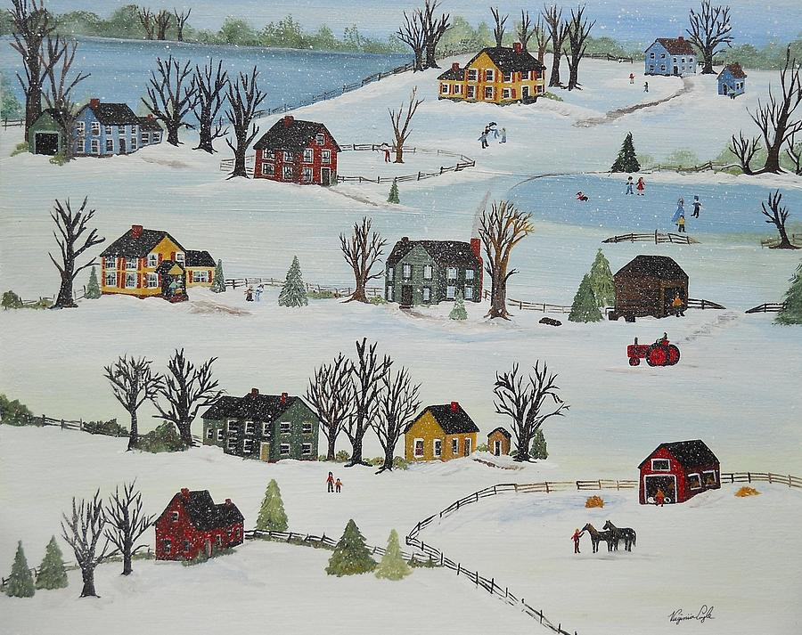 Snow Painting - Snow Day by Virginia Coyle