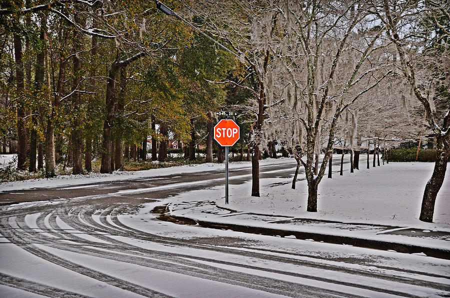 Winter Photograph - Snowy Street by Linda Brown