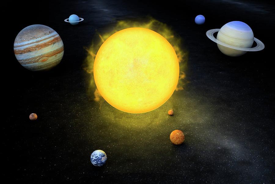 Solar System, Artwork Digital Art by Andrzej Wojcicki