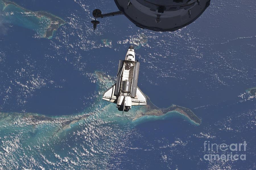 Space Shuttle Atlantis Over The Bahamas Photograph