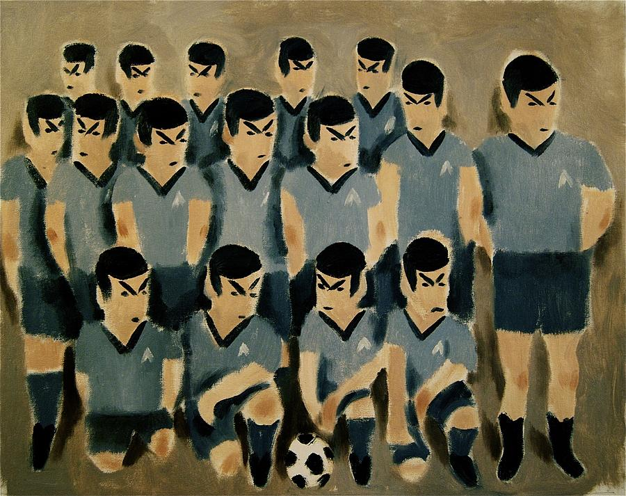 Spock Painting - Spock Soccer Team Art Print by Tommervik