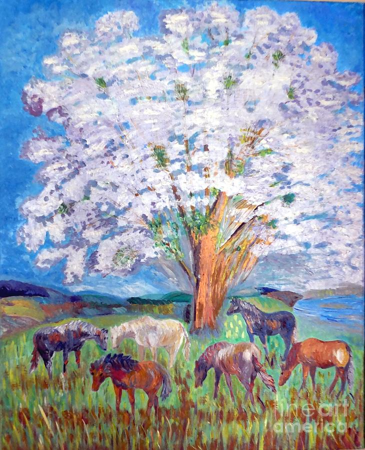 Spring Landscape Painting - Spring And Horses 1 by Vicky Tarcau