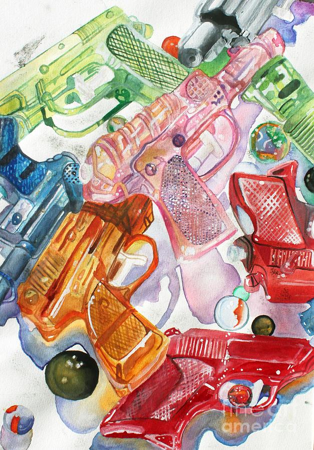 Squirt Guns Painting - Squirt Guns by Billy Granneman