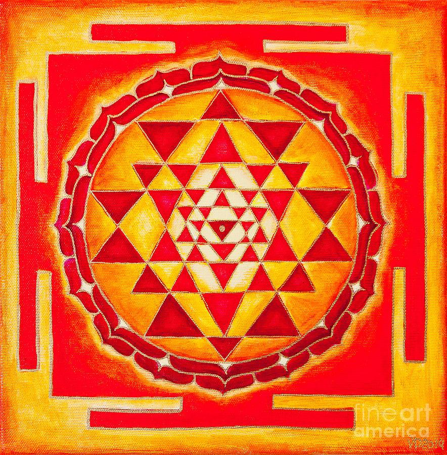 Symbols Photograph - Sri Yantra For Meditation Painted by Raimond Klavins