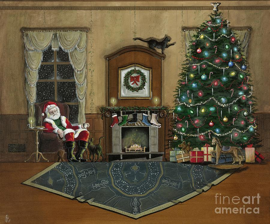 Santa Claus Painting - St. Nicholas Sitting In A Chair On Christmas Eve by John Lyes