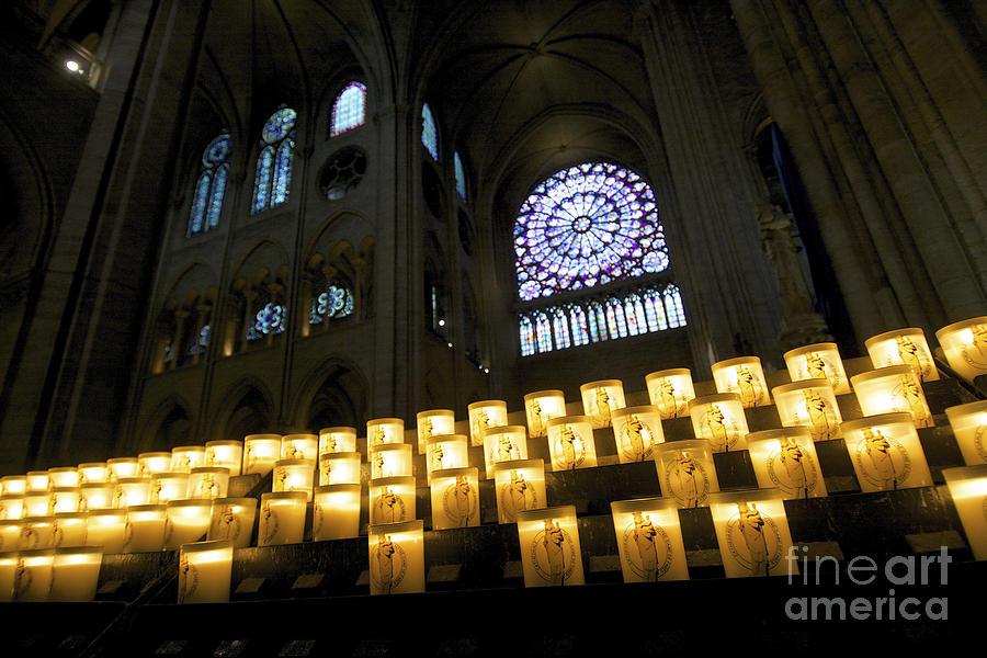 Christianity Photograph - Stained Glass Window Of Notre Dame De Paris. France by Bernard Jaubert