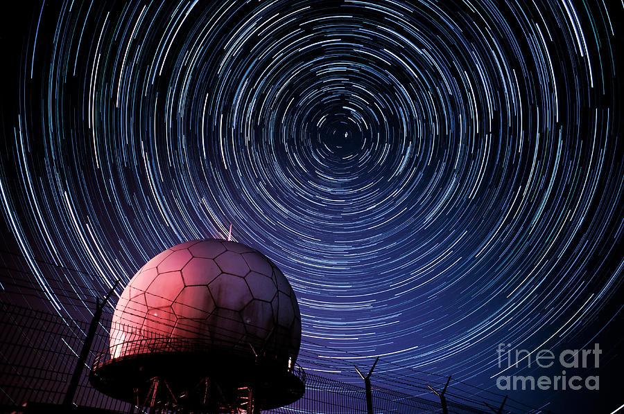Star Trails Photograph - Star Trails And Radar Globe by Eszter Kovacs