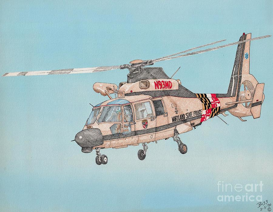 State Police Drawing - State Police Helicopter by Calvert Koerber