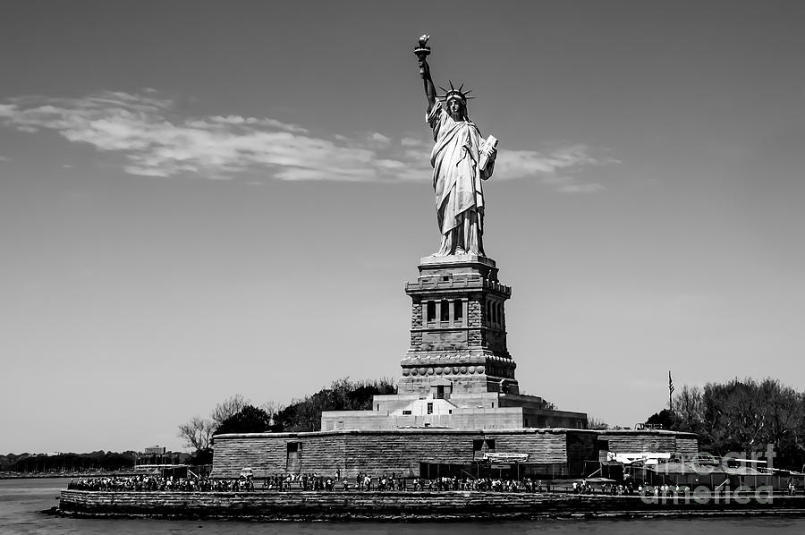 B&w Photograph - Statue Of Liberty  by Anthony Sacco