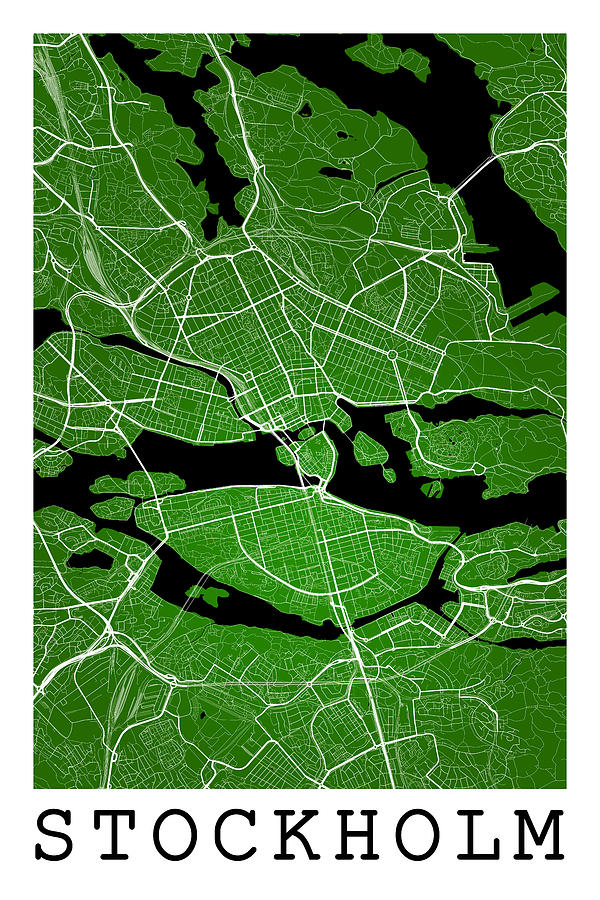 Stockholm Street Map Stockholm Sweden Road Map Art On Color