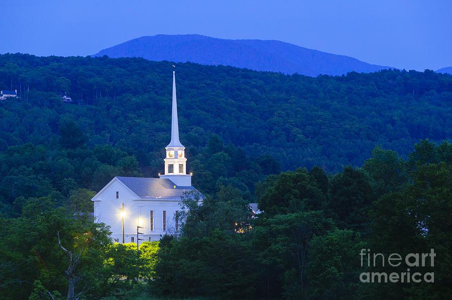 Stowe Community Church At Dusk Photograph