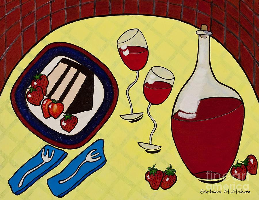 Strawberry Wine Painting - Strawberry Wine by Barbara McMahon