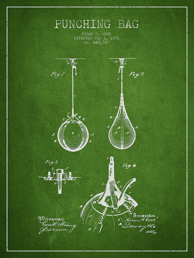 Punching Bag Drawing - Striking Bag Patent Drawing From1891 by Aged Pixel