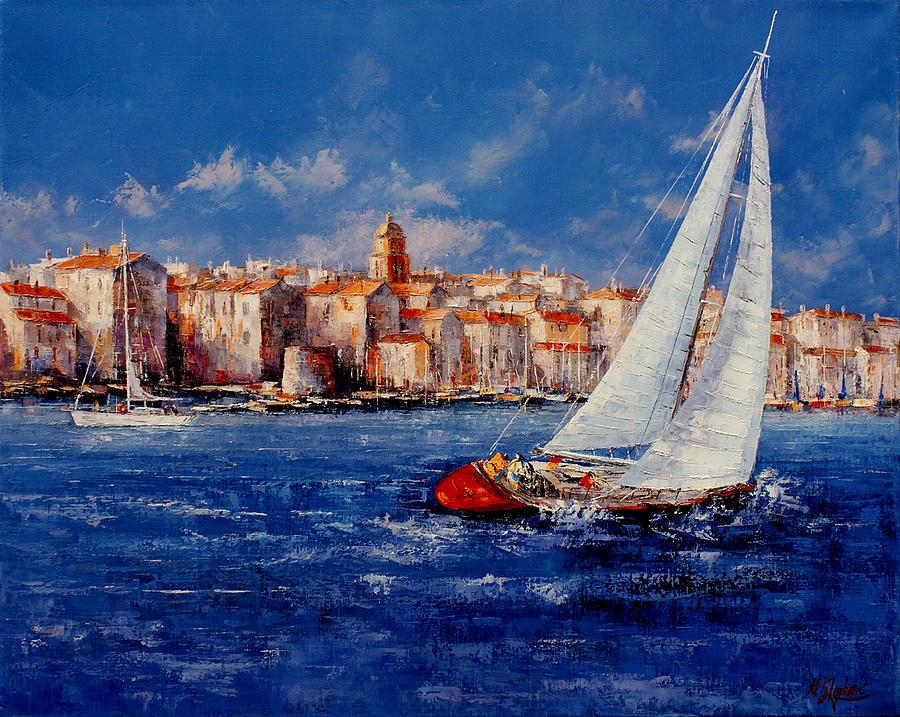 Oil Paintings Painting - St.tropez - France by Miroslav Stojkovic - Miro