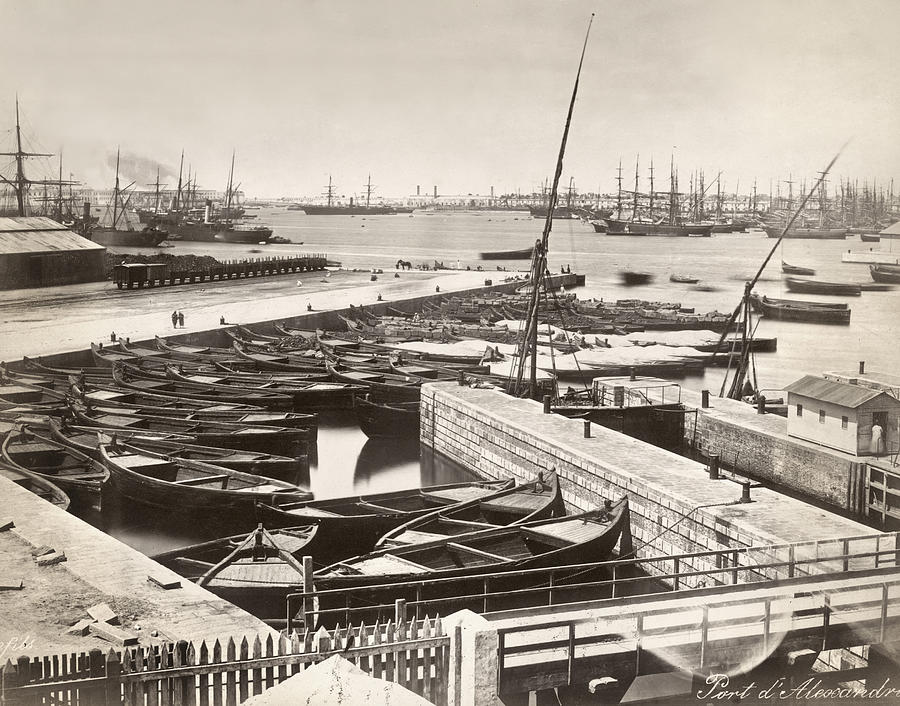 1895 Photograph - Suez Canal Port Said by Granger